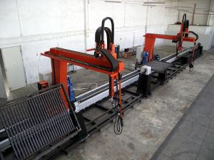 Line for welding of heat-exchanger panels