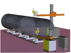 Robotic line for SAW welding of large tanks